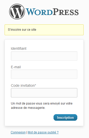 Plugin wordpress : Codes d'invitation pour une inscription.